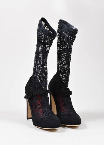 Black Dolce & Gabbana Suede Leather Lace Stocking Pumps Frontview