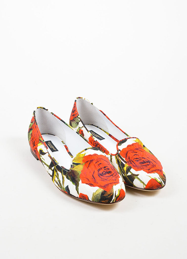 Red White Green Dolce & Gabbana Canvas Rose Print Flats Front