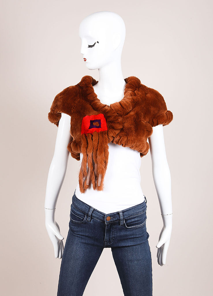 Etro Brown, Red, and Purple Fur Color Block Tassel Trim Cap Sleeve Shrug Frontview