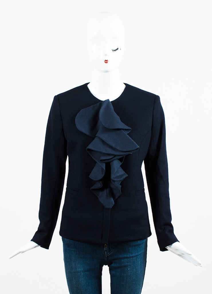 Fendi Navy Blue Fleece Wool Ruffled Cabochon Pin Collarless Zipped Jacket Frontview 2