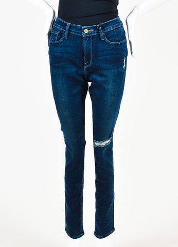 "Frame Denim Dark Blue Denim Distressed ""Le Skinny de Jeanne"" Jeans Frontview"