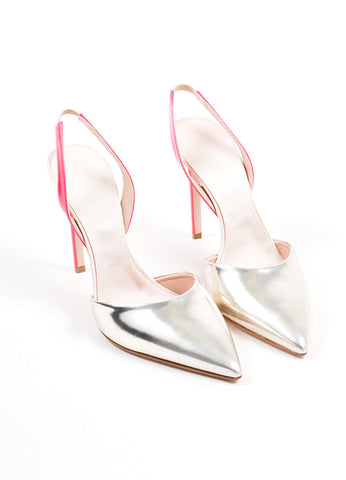 Silver and Pink Giambattista Valli Pointed Toe Slingback Pumps Frontview