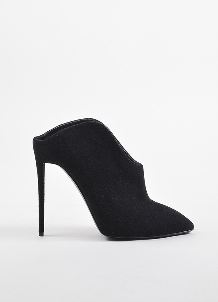 Giuseppe Zanotti Black Suede Leather Heeled Curved Mule Booties Sideview