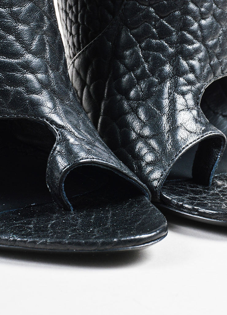Givenchy Black Pebbled Leather Open Toe Thong Booties Detail