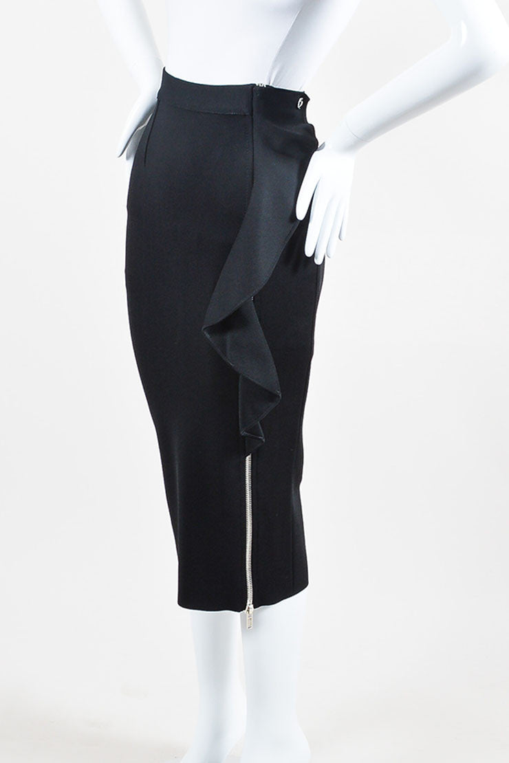 Black Givenchy Ribbed Stretch Crepe Ruffled Zipper Midi Skirt Sideview