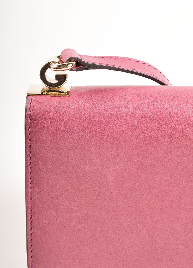 Gucci Pink 'GG' Logo Clasp Leather Crossbody Flap Bag Detail 2