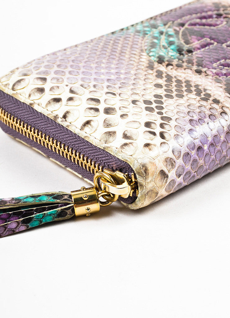 "Gucci Cream, Purple, and Green Python Snakeskin Zip Around 'GG' ""Soho"" Wallet Detail"