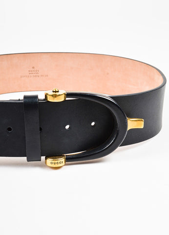 Gucci Black and Gold Toned Leather Large Horseshoe Buckle Belt Detail