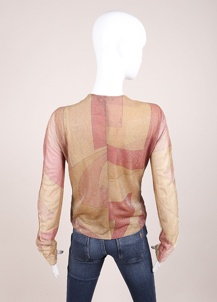 Gucci Tan, Pink, and Gold Metallic Graphic Print Tiger Embellished Blouse Backview