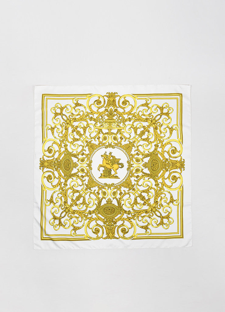 "Hermes Gold and Cream Silk ""Les Tuileries"" Print Square Scarf Frontview 2"