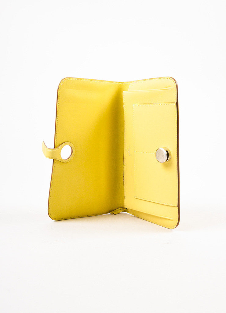 "Hermes Pale 'Soufre' Yellow Swift Leather Palladium Hardware ""Dogon Duo"" Wallet Interior"