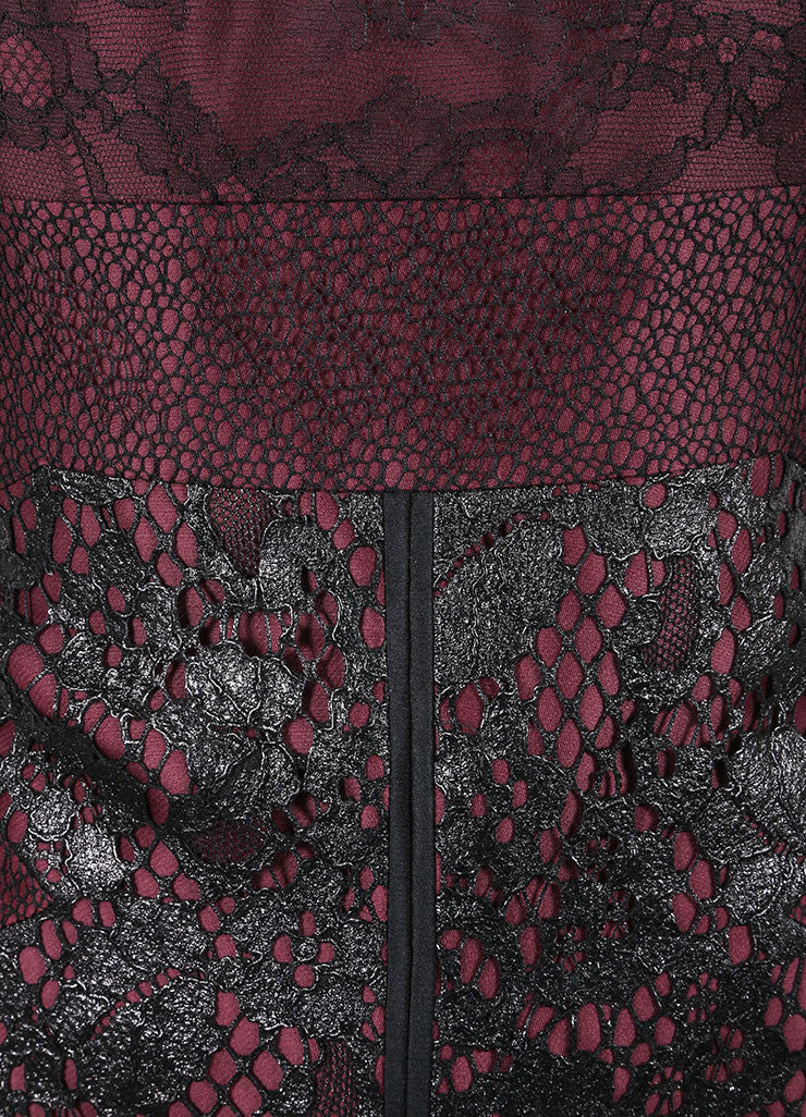 J. Mendel New With Tags Burgundy And Black Silk Metallic Lace Strapless Dress Detail