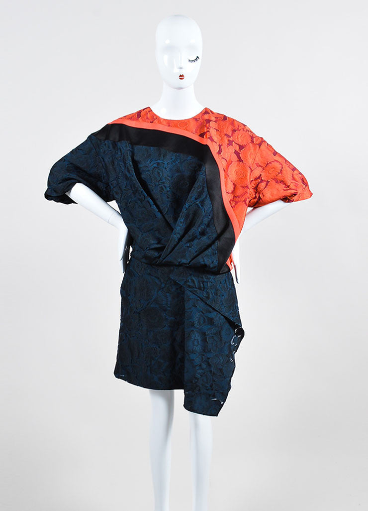 "Orange, Blue, and Black Kenzo Burnout Brocade ""Shadow Flowers"" Dress Frontview"