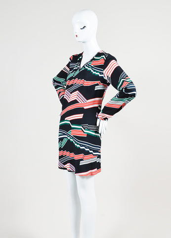 Black, Grey, and Red Kenzo Crepe Ribbons Print Long Sleeve A-Line Short Dress Sideview