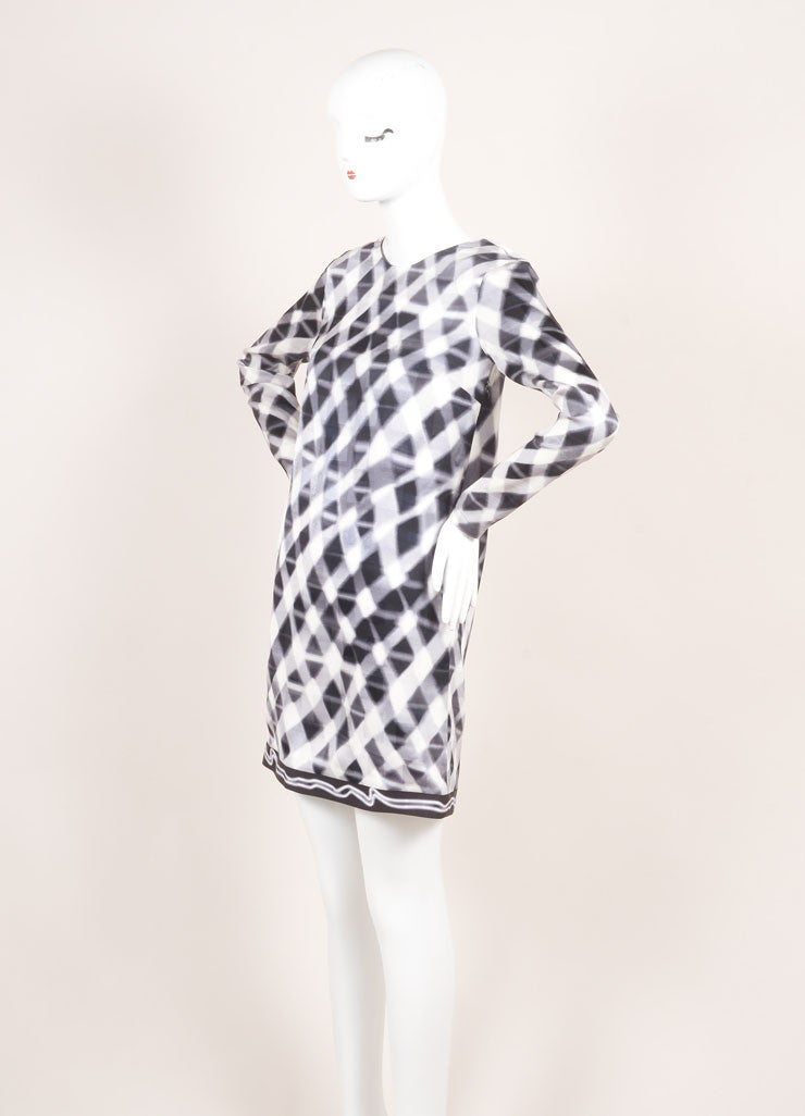 Kenzo New With Tags Grey and White Checkered Print and Jacquard Long Sleeve Silk Shift Dress Sideview