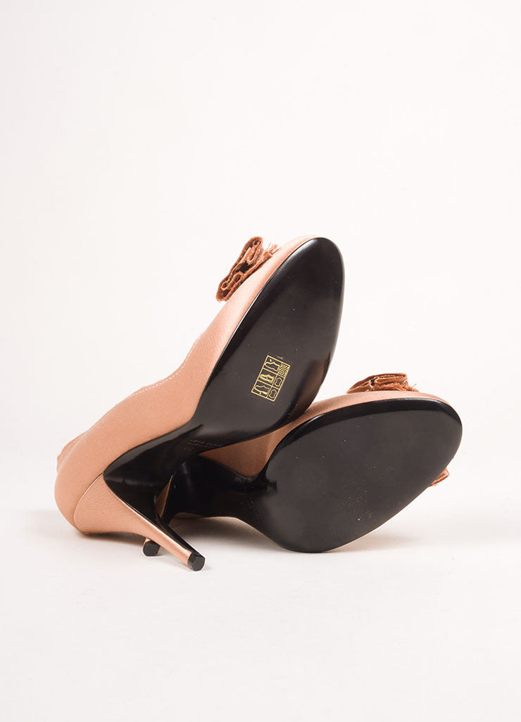 Lanvin Dusty Pink Satin Bow Pumps Outsoles