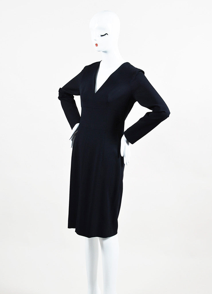 "Lanvin Navy Blue Long Sleeve V-Neck ""Uniform"" Dress Sideview"