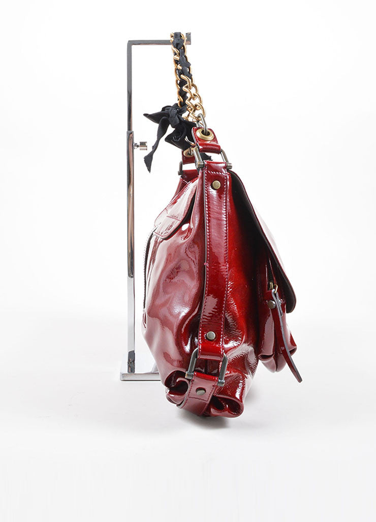 "Lanvin Red Patent Leather East West Ribbon Chain Strap Shoulder Flap ""Pise"" Bag Sideview"