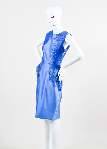 Lela Rose Blue Wool and Silk Lace Trim Sleeveless Sheath Dress Sideview