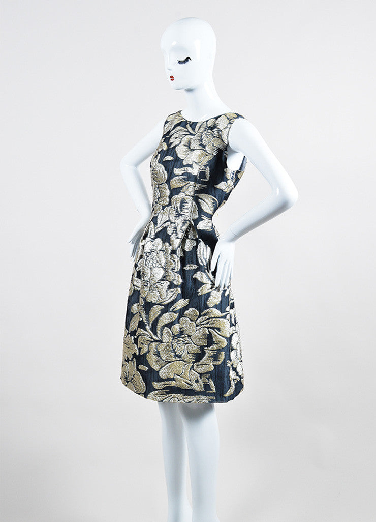 Grey Metallic and Silver Lela Rose Silk Floral Brocade Sheath Dress Sideview