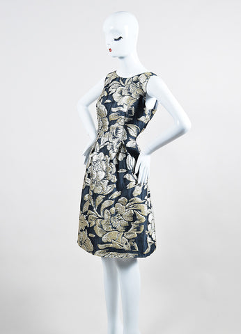 Grey and Metallic Silver Lela Rose Silk Floral Brocade Sheath Dress Sideview