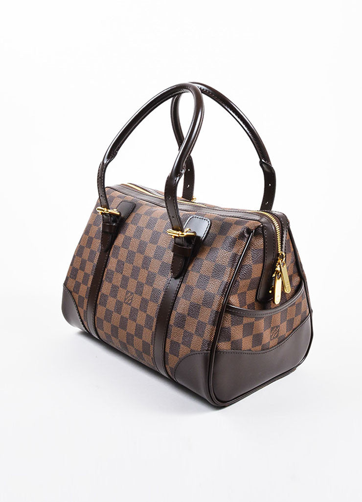"Louis Vuitton Brown Damier Coated Canvas Leather Trim ""Berkeley"" Bag Sideview"