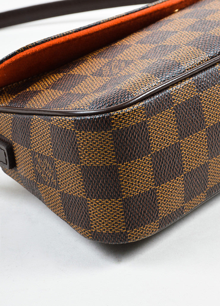 "Louis Vuitton Brown Damier Canvas Leather ""Recoleta"" Shoulder Baguette Bag Detail"