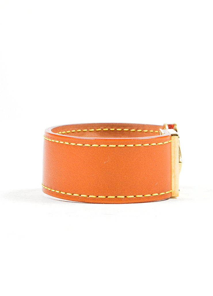 "Cognac Brown and Gold Toned Louis Vuitton Leather ""Koala Nomade"" Cuff Bracelet Sideview"