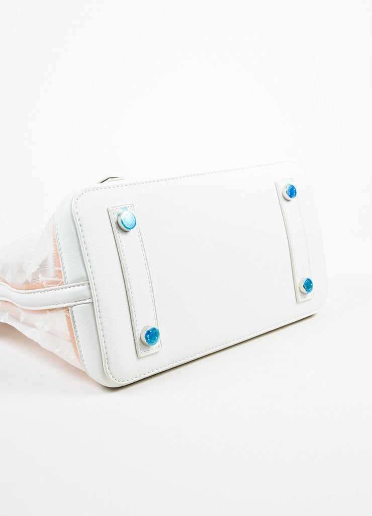 "Louis Vuitton Limted Edition White Nylon and Leather ""Transparence Lockit"" Satchel Bag Bottom View"
