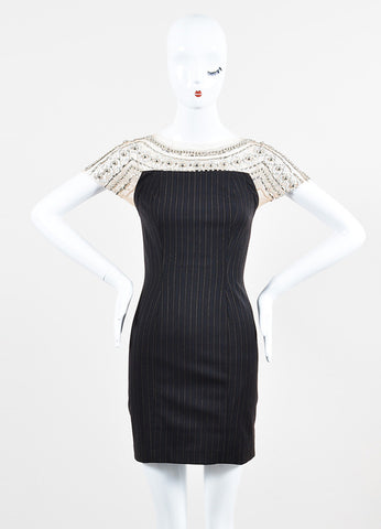 Mandalay Black, Nude, and Silver Pinstripe Beaded Mesh Sheath Dress