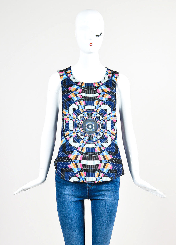 Mara Hoffman Multicolor Tessellate Print Split Overlay Sleeveless Top Frontview