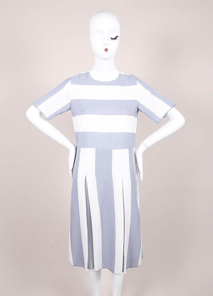 Marc Jacobs New With Tags Grey and White Stripe Print Pleated Short Sleeve Dress Frontview