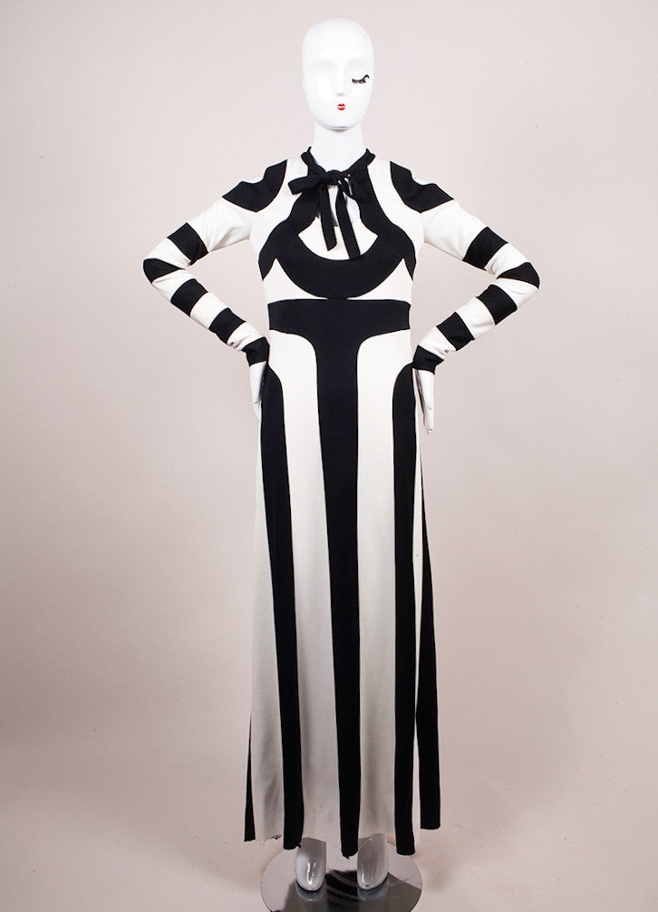 Marc Jacobs Black and White Stripe Long Sleeve Maxi Dress Frontview