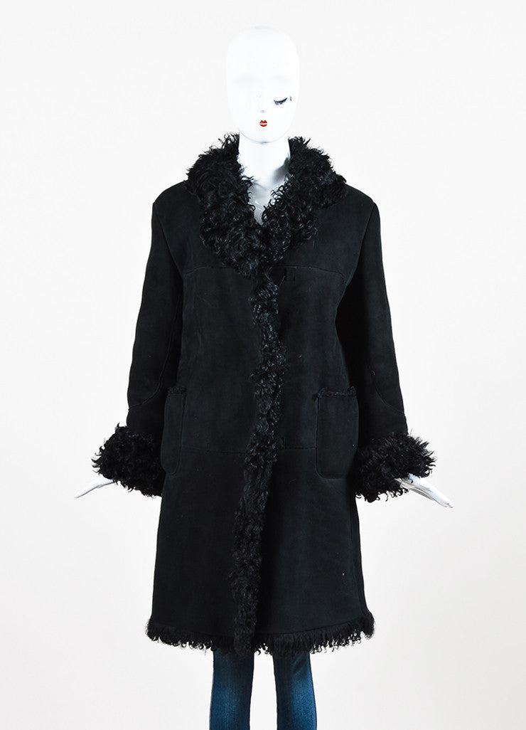 Black Marni Suede and Lamb Shearling Paneled Coat Frontview 2