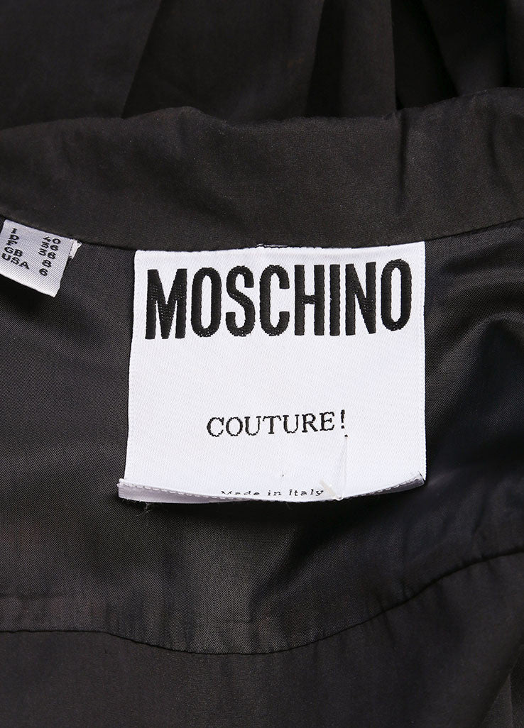 Moschino Couture! Dark Grey Cotton Pleated Long Sleeve Tie Crop Top Brand