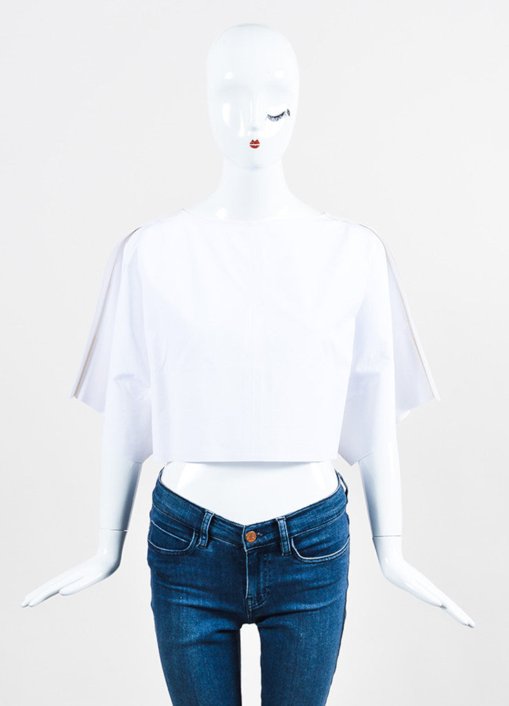 Mugler White Poplin Structured Trim Pleated Drape Sleeve Crop Top Frontview