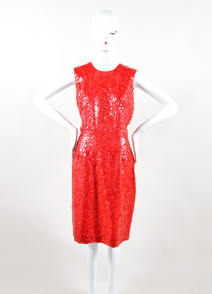 Naeem Khan Red Silk Sequin Beaded Sleeveless Sheath Dress Frontview