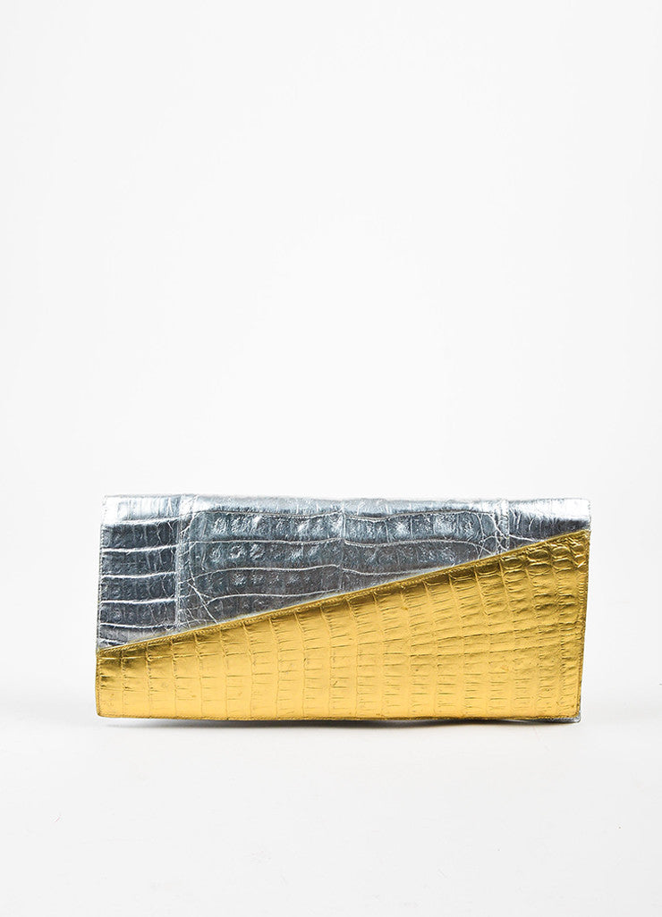 Nancy Gonzalez Silver and Gold Crocodile Leather Oversized Flat Clutch Bag Frontview