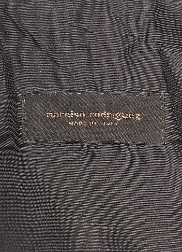 Narciso Rodriguez Brown Leather Three Quarter Sleeve Tailored Jacket Brand