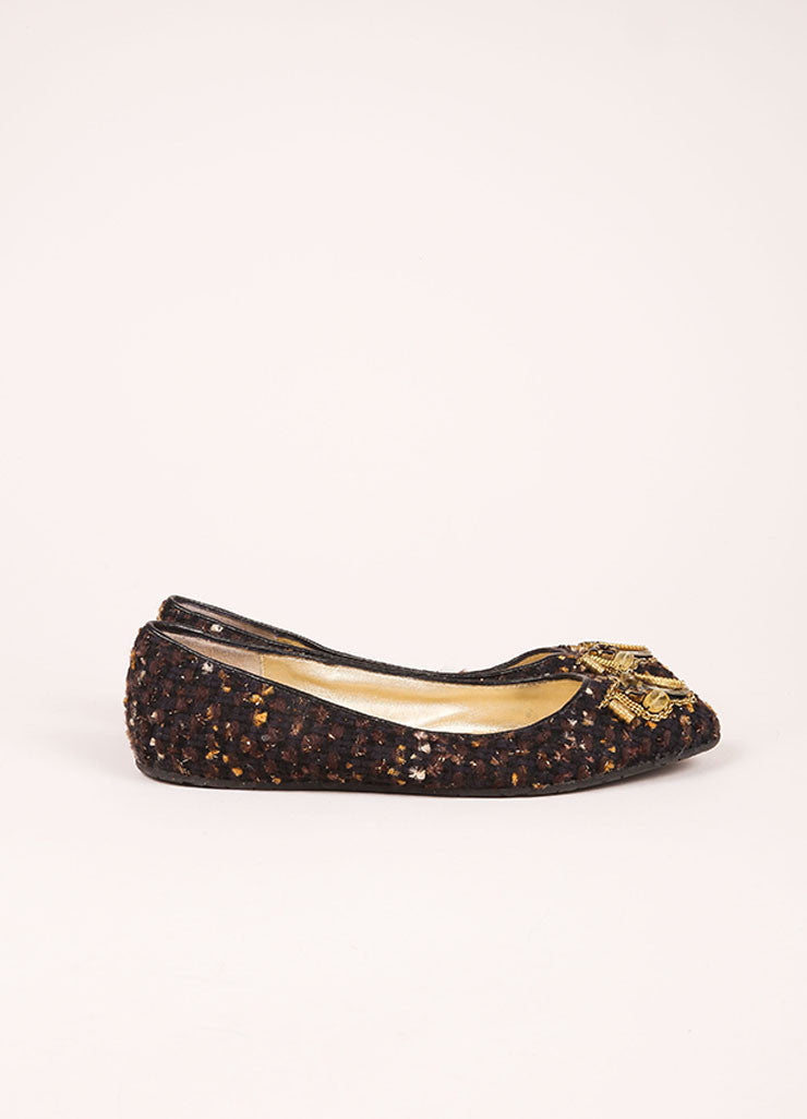 Black, Brown, and Gold Toned Tweed Embellished Flats