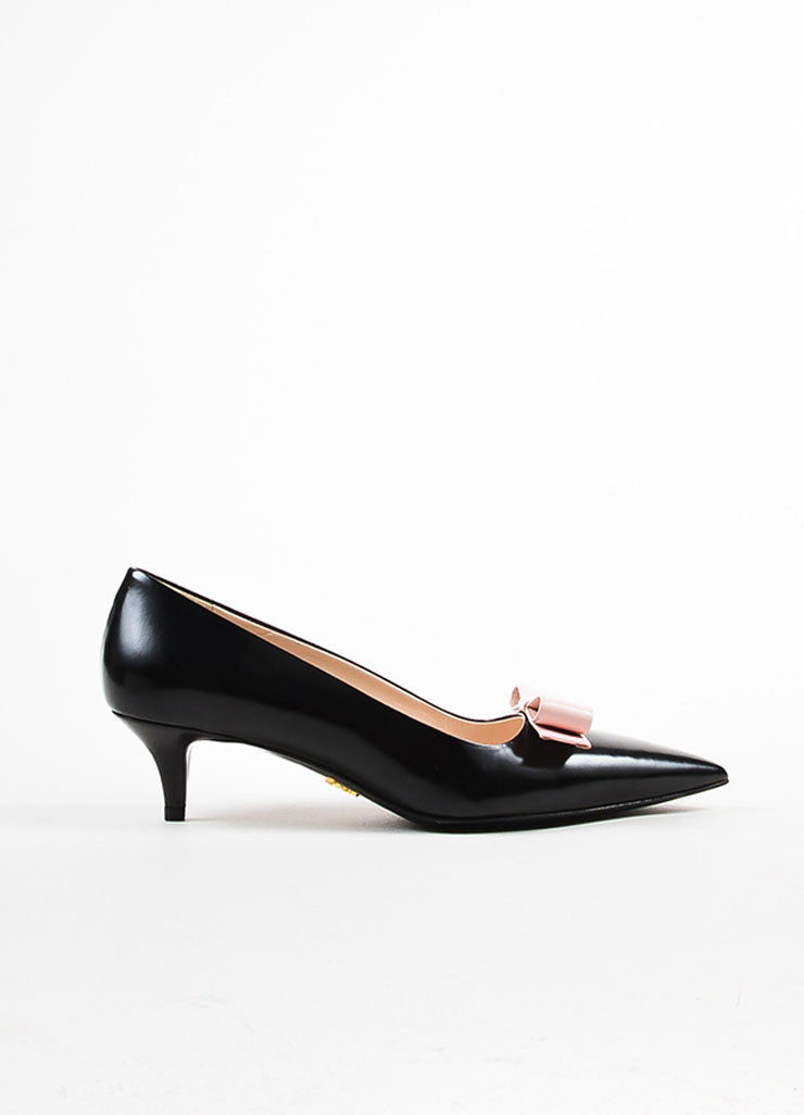 Prada Black and Pink Leather Bow Pointed Toe Pumps Sideview