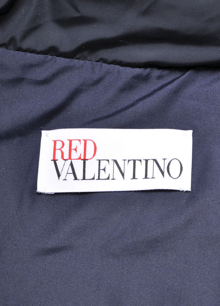 Red Valentino New With Tags Navy and Black Velvet Bow Trim Taffeta Puffer Coat Brand