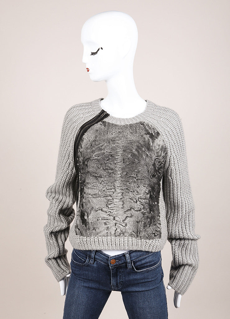 Reed Krakoff New With Tags Grey Wool and Silk Knit Shearling Panel Cropped Sweater Frontview