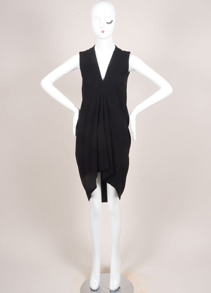 Rick Owens Black Crepe Wool Blend V-Neck Sleeveless High Low Dress Frontview