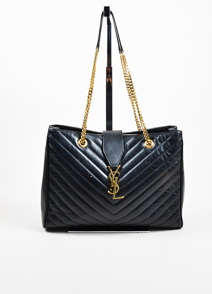 "Saint Laurent Black Matelasse Quilted Leather ""Classic Monogram"" Shopping Bag Frontview"