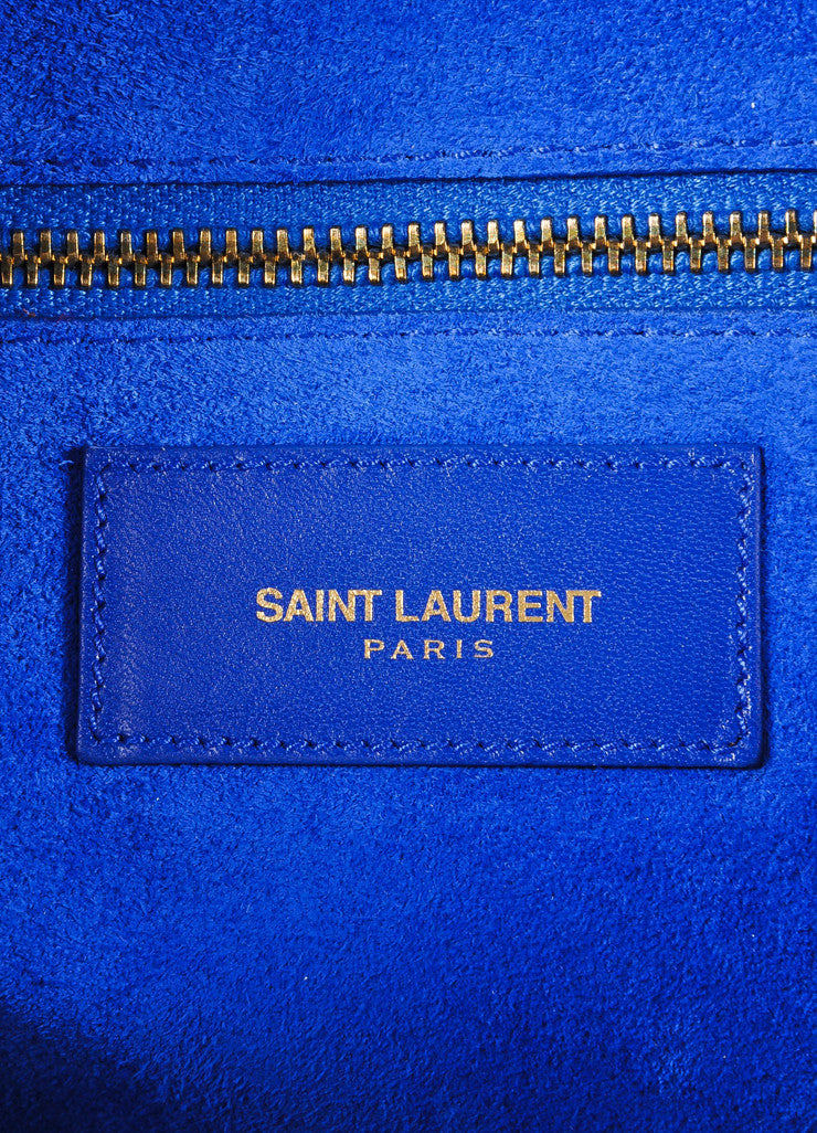 "Saint Laurent New With Tags Royal Blue Leather ""Classic Duffle 6"" Bag Brand 2"