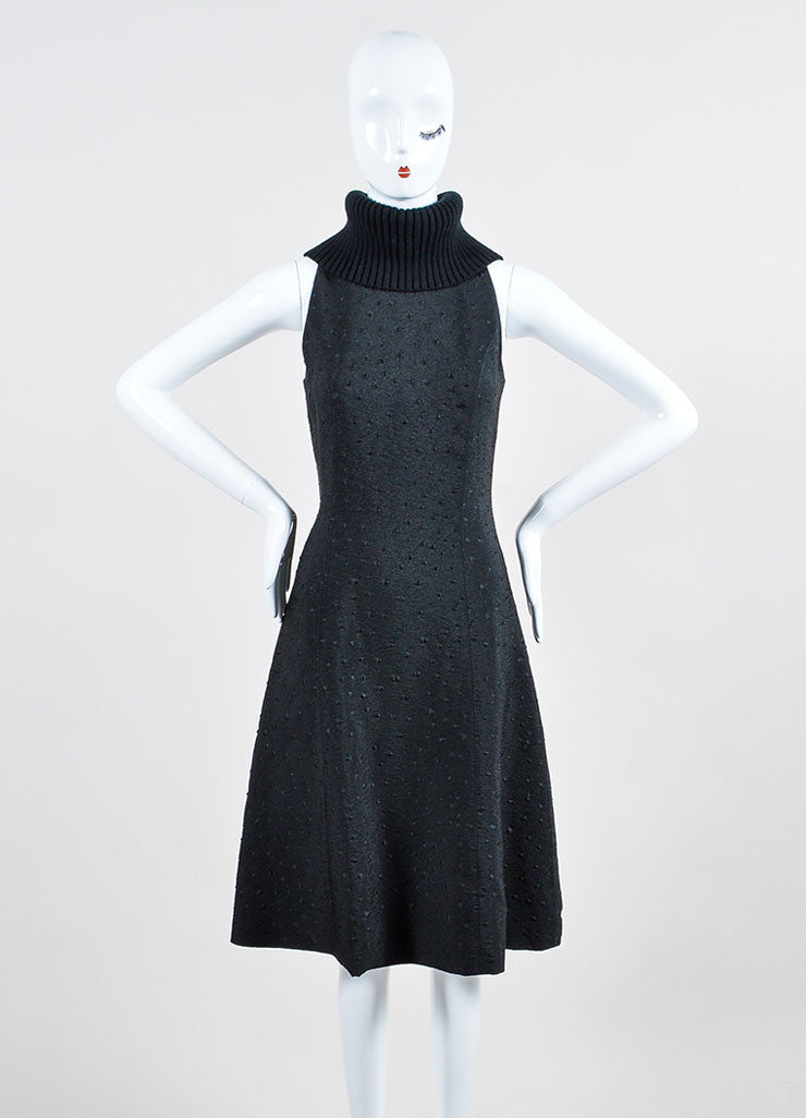 Black Sally Lapointe Wool Turtleneck Jacquard Sleeveless Dress Frontview
