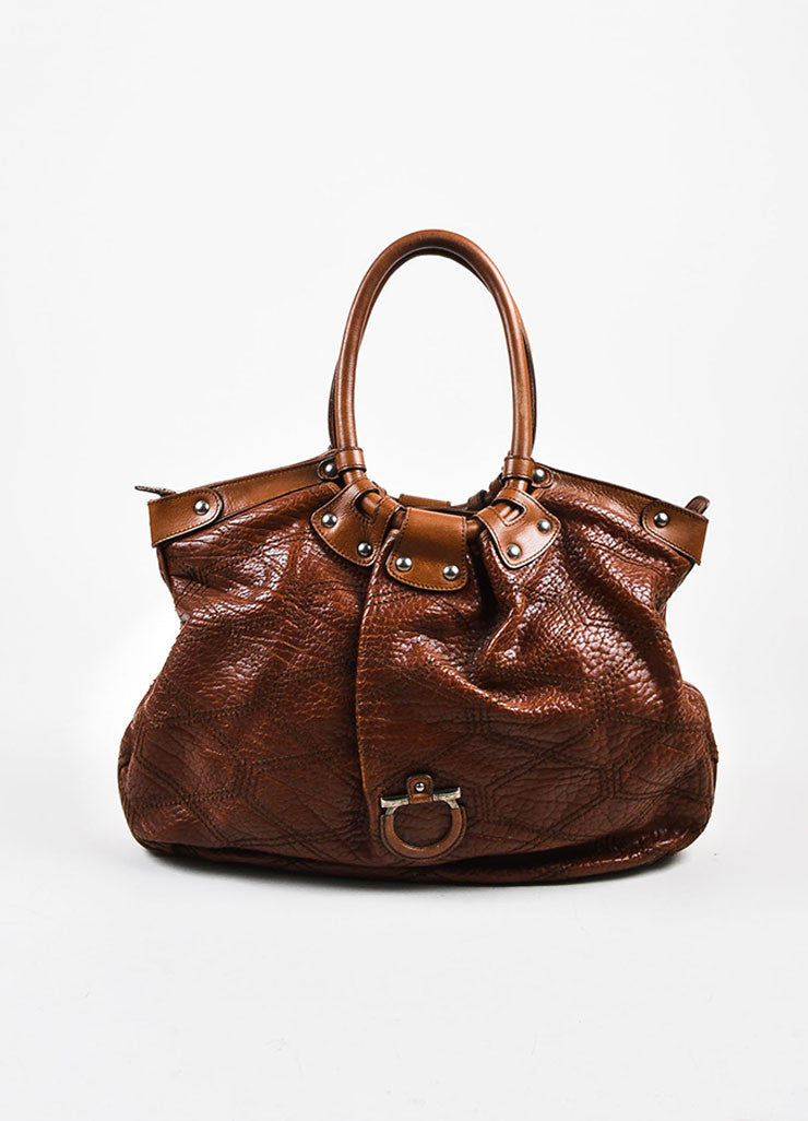 "Salvatore Ferragamo Brown Pebbled Leather Quilted Stitch ""Celtico"" Shoulder Bag Frontview"