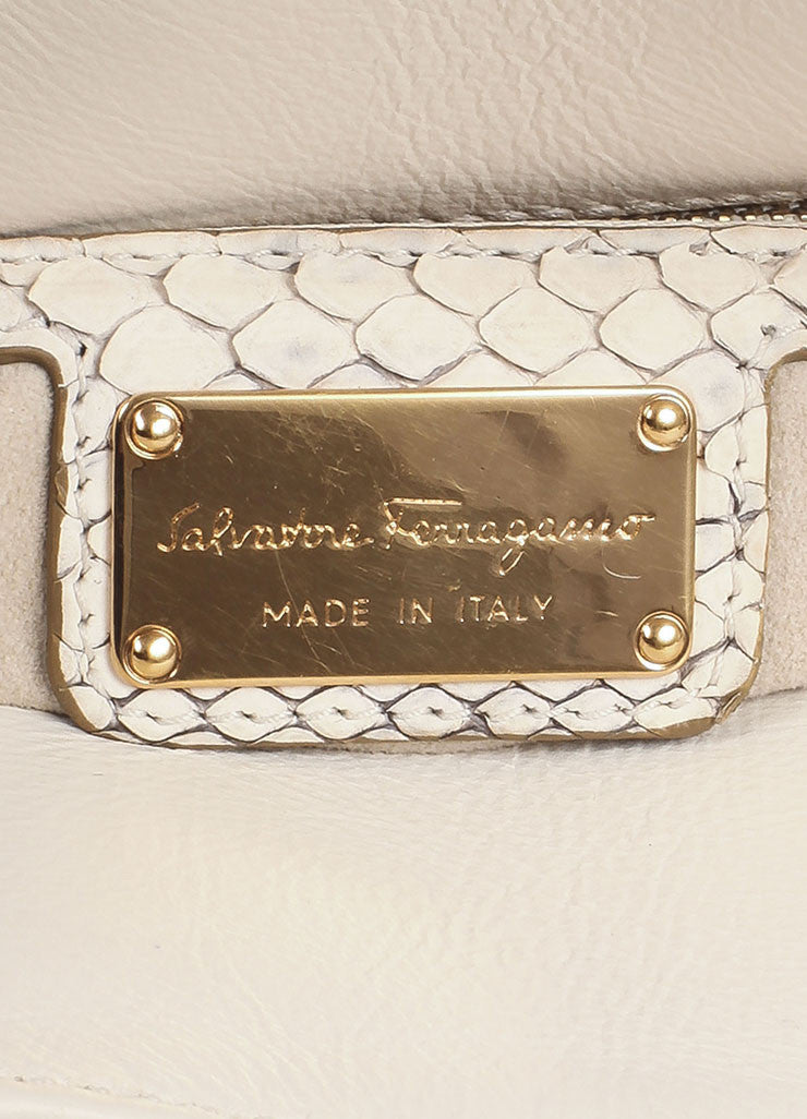 Salvatore Ferragamo Cream Snakeskin Leather Top Handle Tote Bag Brand