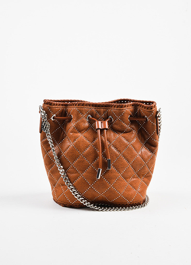 Stella McCartney Cognac Vegan Leather Studded Quilted Mini Bucket Bag Frontview